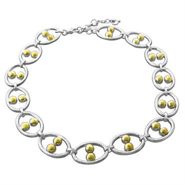 thumbnail image of New Gurhan Domino 24K Gold Sterling Silver Link Necklace