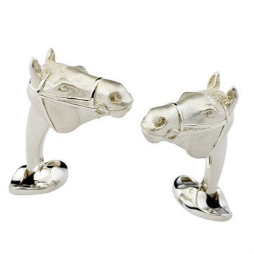 image of Deakin & Francis Sterling Silver Horse Head Cufflinks