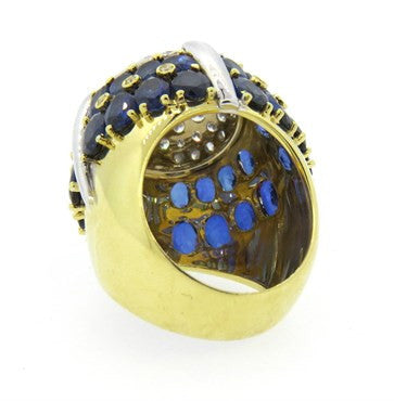 thumbnail image of 1980s Italian Sapphire Diamond Gold Dome Ring