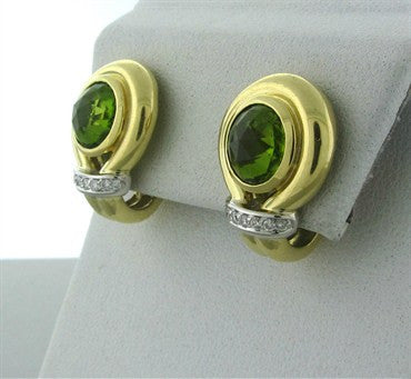 thumbnail image of Faraone Menella 18K Yellow Gold Peridot Diamond Earrings