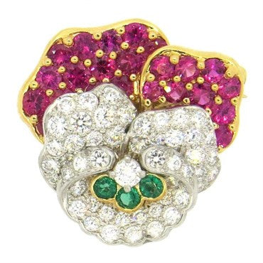image of Exquisite Tiffany & Co Platinum Gold Ruby Diamond Emerald Pansy Flower