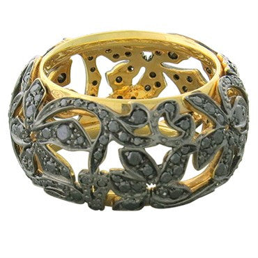 thumbnail image of New Pomellato Arabesque 18k Gold Black Diamond Wide Band Ring
