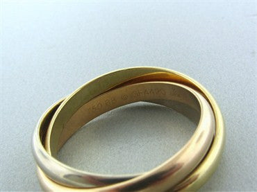Cartier Trinity Three Band 18K Gold Rolling Band Ring Size 68