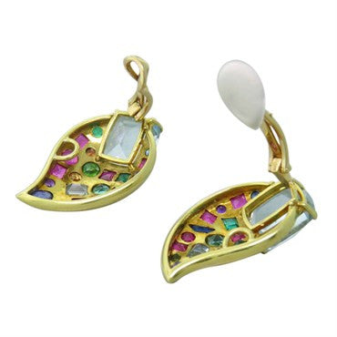 thumbnail image of Impressive Multicolor Gemstone Gold Earrings