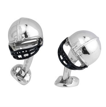 image of Deakin & Francis Sterling Silver American Football Helmet Cufflinks