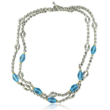 thumbnail image of Scott Kay Sterling Silver 18K Gold Blue Topaz Two Strand Necklace