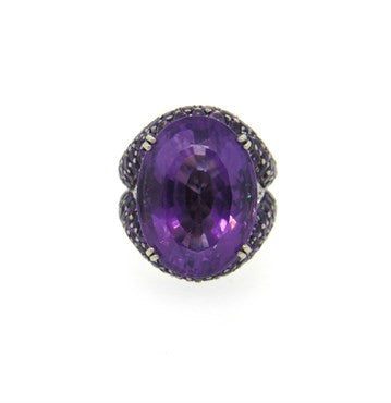 thumbnail image of Remarkable Amethyst Diamond 18k Gold Cocktail Ring