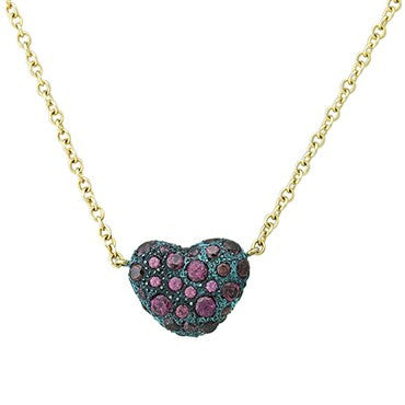 image of New Pomellato Tabou 18k Gold Blackened Silver Rhodolite Heart Necklace