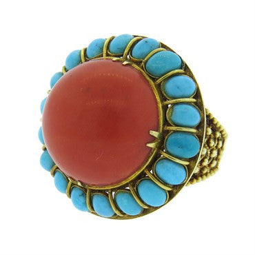 image of Turquoise Coral 14k Gold Dome Ring