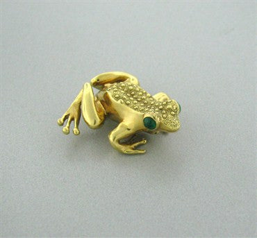 image of Vintage Tiffany & Co 18k Yellow Gold Emerald Frog Brooch Pin