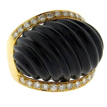 1980s Carved Onyx Diamond Gold Dome Ring