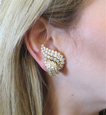 image of Gorgeous 12 Carat Diamond 18k Gold Cocktail Earrings
