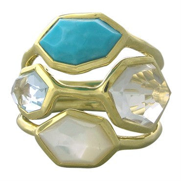 image of New Ippolita 18K Gold Ocean Combo Gemstone Cluster Ring