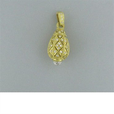 image of Large Judith Ripka 18k Gold Crystal Diamond Pendant