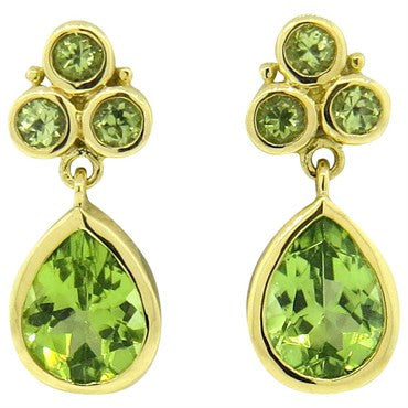 image of New Temple St. Clair Peridot 18k Gold Drop Earrings