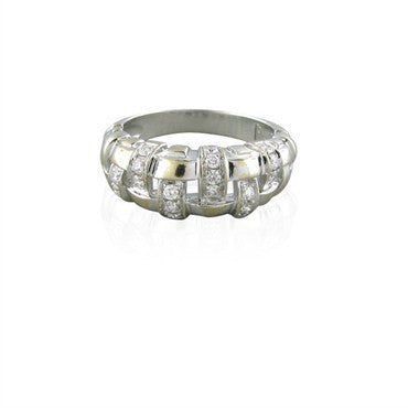 image of Tiffany & Co 18K White Gold Woven Pattern Diamond Ring