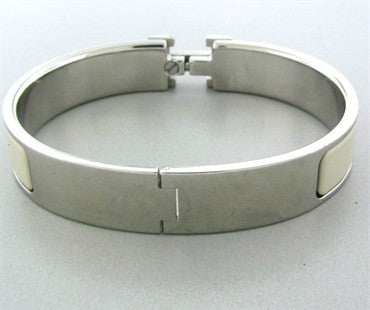 image of Estate Hermes Silver Tone Metal White Enamel Letter H Bangle Bracelet