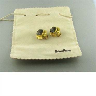 image of Elizabeth Locke 19k Gold Smokey Topaz Earrings