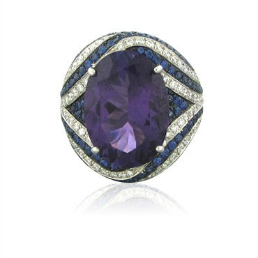 image of New Asprey 18K White Gold Diamond Amethyst Sapphire Cocktail Ring