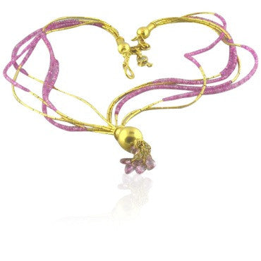 image of New Gurhan 24k Gold Ruby Bead Multi Strand Necklace