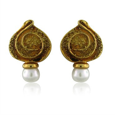 image of Elizabeth Gage 18K Yellow Gold Pearl Earrings