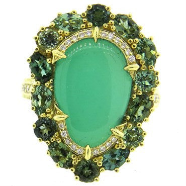 image of Judith Ripka 18K Gold Green Chalcedony Gemstone Diamond Cocktail Ring