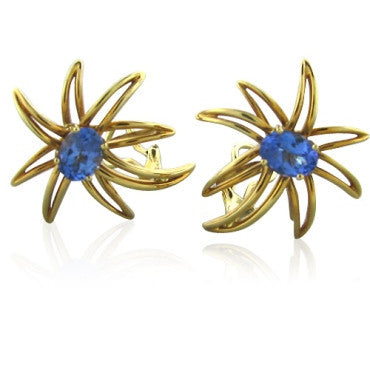 thumbnail image of Tiffany & Co Fireworks Tanzanite 18k Gold Earrings