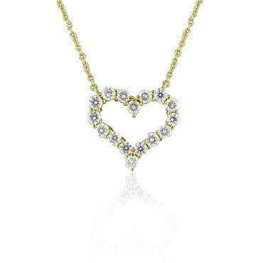 image of Tiffany & Co Hearts 18k Diamond Pendant Necklace