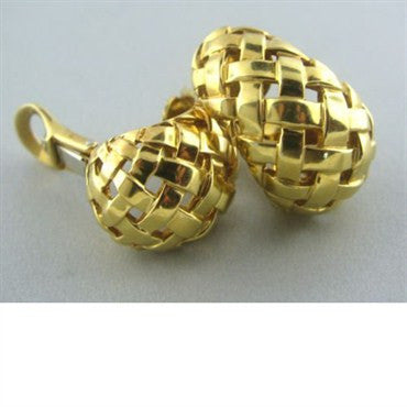 thumbnail image of Tiffany & Co 18k Gold Basket Weave Wide Hoop Earrings