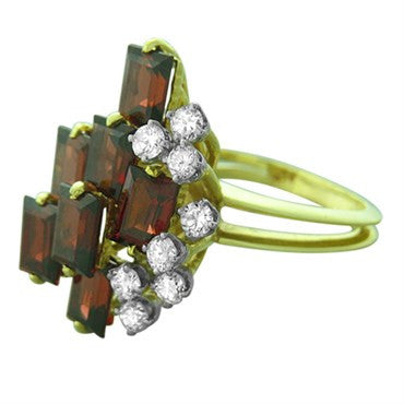 thumbnail image of 1970s Le Triomphe Gold Diamond Garnet Cocktail Ring