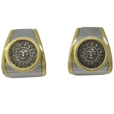 image of Marina B 18k Gold Silver Sun Coin Earrings