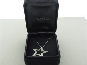 thumbnail image of Tiffany & Co Platinum Diamond Star Pendant Necklace