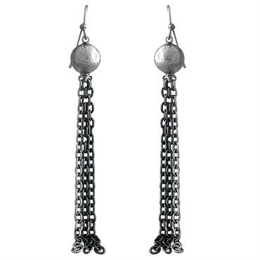 thumbnail image of Gurhan Blackened Sterling Silver Chain Ball Drop Earrings