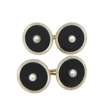 thumbnail image of Art Deco Onyx Pearl 14k Gold Platinum Cufflinks