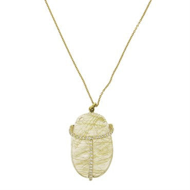 18k Gold Diamond Carved Rutilated Quartz Scarab Pendant Necklace