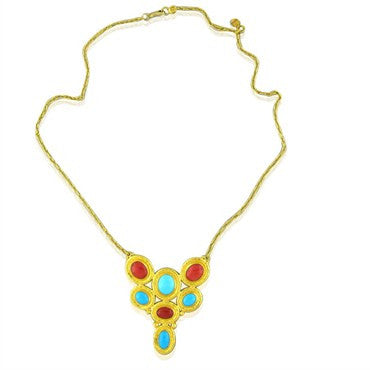 image of New Gurhan 24k Gold Coral Turquoise Pendant Necklace