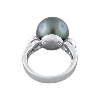 image of Modern 18k Gold Diamond 12.8mm South Sea Pearl Ring
