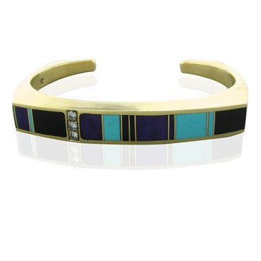 image of Ray Tracey 14K Gold Diamond Turquoise Onyx Sugilite Cuff Bracelet