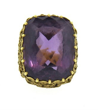 image of Impressive 1960s Amethyst Hand Engraved Gold Large Ring