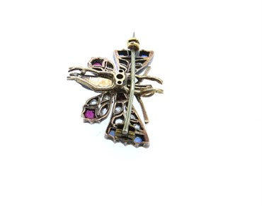 thumbnail image of Antique Rose Cut Diamond Ruby Pearl Sapphire Gold Butterfly Brooch Pin