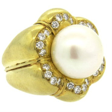 image of Tambetti South Sea Pearl Large Diamond 18k Gold Ring