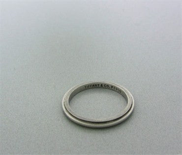 thumbnail image of Estate Tiffany & Co Platinum Milgrain 2mm Wedding Band Ring