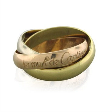 thumbnail image of Cartier Trinity 18K Gold Rolling Three Band Ring Size 45