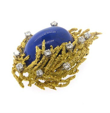 thumbnail image of 1970s Lapis 1.00ctw Diamond 18k Gold Brooch Pin