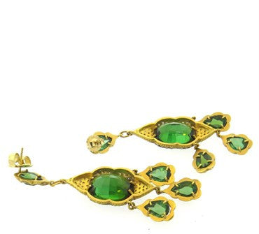 image of Impressive Cathy Waterman Green Tourmaline Diamond 22k Gold Earrings