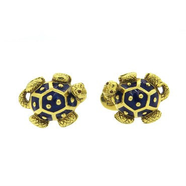 thumbnail image of Large Hidalgo Enamel 18k Gold Turtle Cufflinks