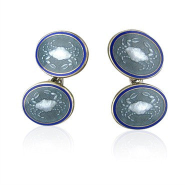 image of Vintage Tiffany & Co Enamel Sterling Silver Cancer Cufflinks