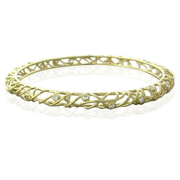 image of Hearts On Fire Gold 1.10ctw Diamond Brocade Bangle Bracelet