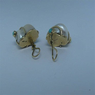 thumbnail image of Estate Seaman Schepps 18k Turquoise Seashell Earrings