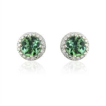 image of Gumuchian Platinum Pave Diamond & Mint Green Tourmaline Halo Earrings